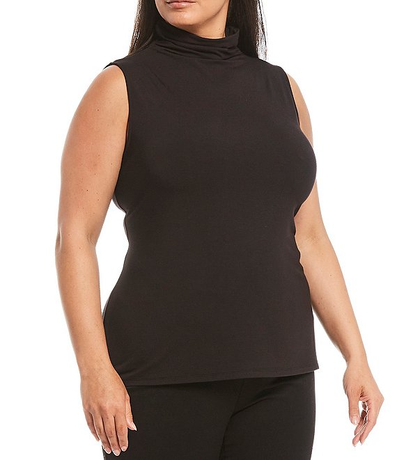 Color:Black - Image 1 - Plus Size Sleeveless Mock Neck Top