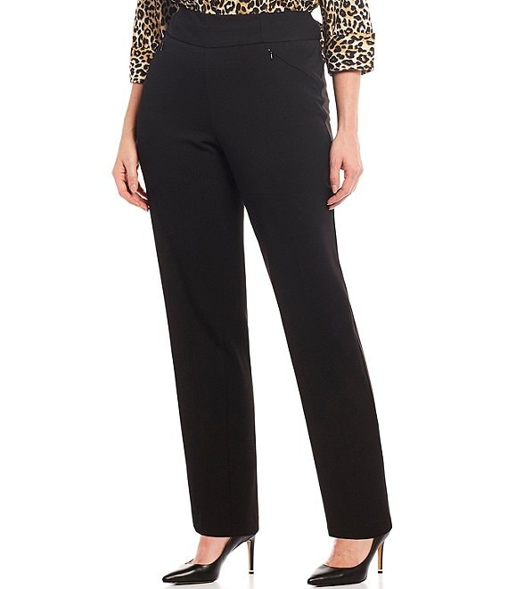 9092e0e1e7 Investments Plus Size the PARK AVE fit Pull-On Straight Leg Pant with  Pockets