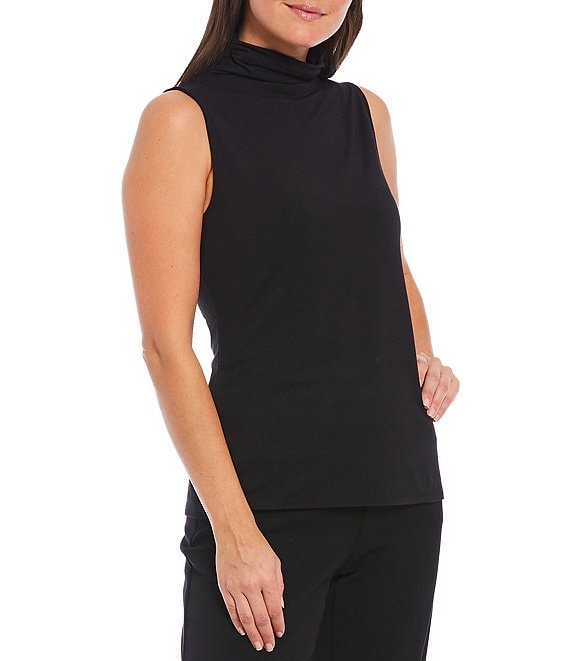 Color:Black - Image 1 - Sleeveless Mock Neck Top
