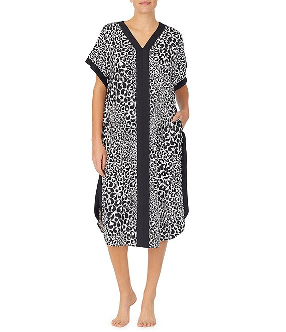 Color:Black Print - Image 1 - Animal Printed Knit Caftan
