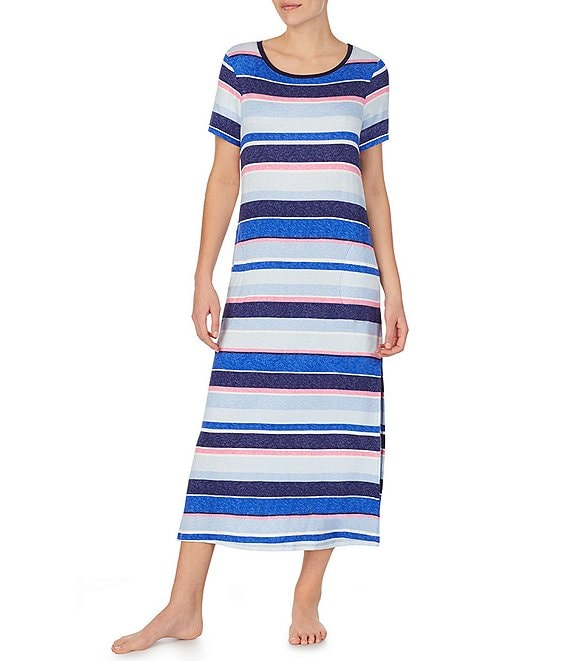 Color:Multi Stripe - Image 1 - Striped Print French Terry Maxi Lounge Dress