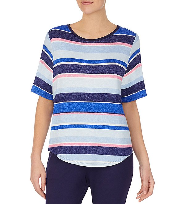 Color:Multi Stripe - Image 1 - Striped Print French Terry Sleep Top
