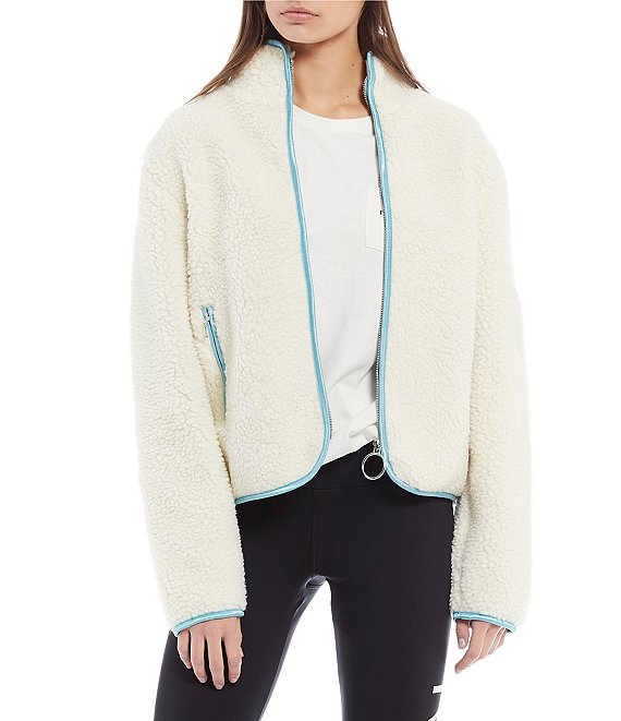 Color:Antique White - Image 1 - Full Zip Faux-Sherpa Jacket