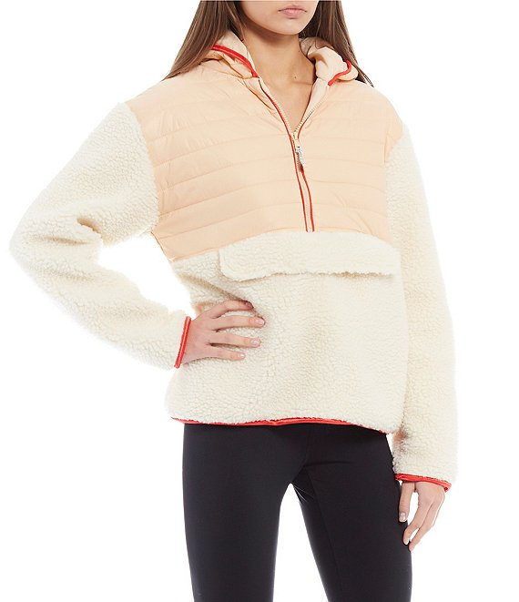 Color:Apricot Illusion - Image 1 - Mixed Media Hooded Jacket