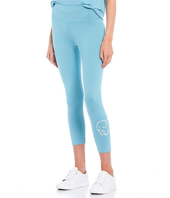 Color:Still Water - Image 1 - Recycled Polyester Sustainable Logo Capri Leggings