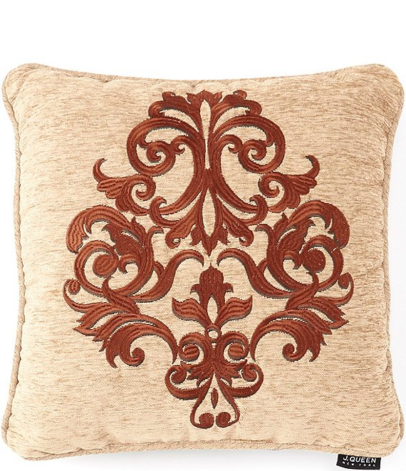 Color:Beige - Image 1 - Luciana Damask Embroidered Square Pillow