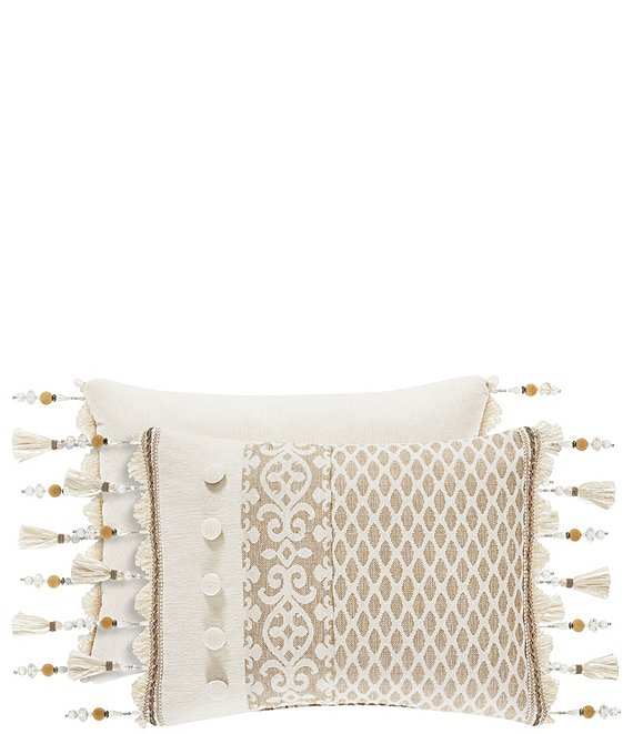 Color:Sand - Image 1 - Milano Sand Pieced & Fringed Boudoir Pillow