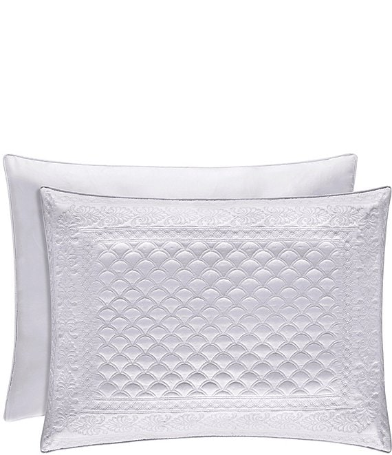 Color:White - Image 1 - Zilara Embroidered Quilted Satin Sham