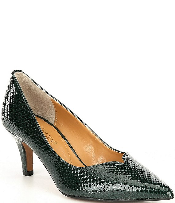 Color:Emerald - Image 1 - Abigaile Patent Embossed Snake Print Pumps