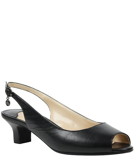 Color:Black - Image 1 - Aldene Slingback Peep-Toe Pumps