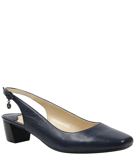 5d52387e6b J. Renee Blandi Leather Sling Pumps