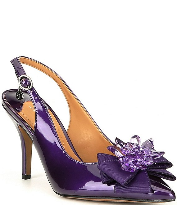 J. Renee Denyell Slingback Bow Detail Stiletto Pumps