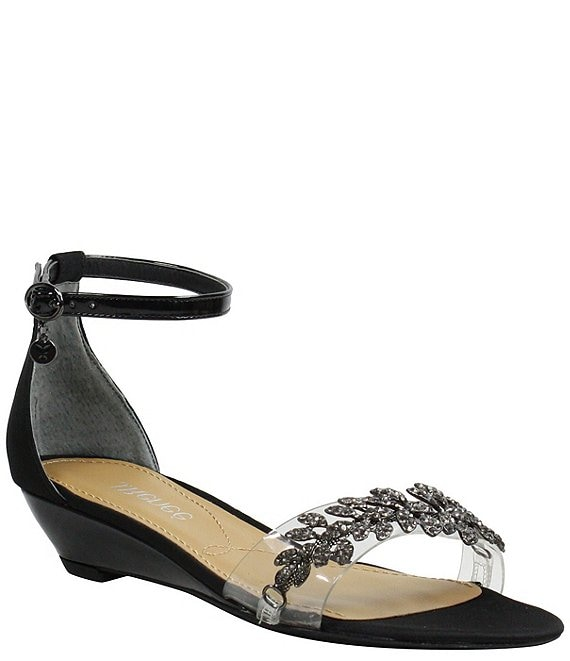Color:Black Satin - Image 1 - Eviana Satin and Vinyl Wedge Dress Sandals