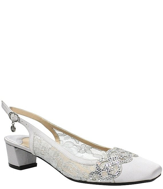Color:Steel Grey - Image 1 - Faleece Lace and Satin Slingback Block Heel Pumps