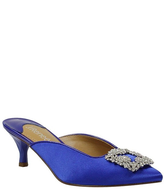 Color:Royal Blue Satin - Image 1 - Felecia Satin Ornament Detail Dress Mules
