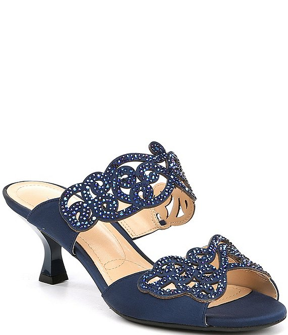 Color:Navy - Image 1 - Francie Satin Rhinestone Embellished Slides