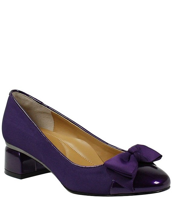 Color:Purple - Image 1 - Gelar Grosgrain Cap Toe Block Heel Bow Pumps
