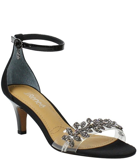 Color:Black Satin - Image 1 - Hartleigh Satin Clear Jeweled Ankle Strap Dress Sandals