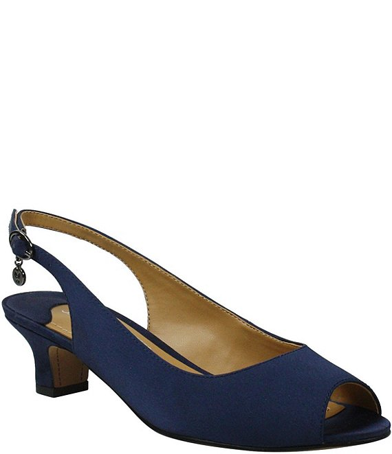 Color:Navy Satin - Image 1 - Jenvey Satin Peep Toe Sling Pumps