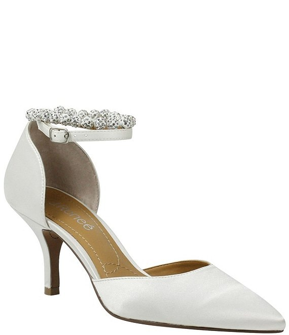 Color:White Satin - Image 1 - Kenema Satin Jeweled Ankle Strap d'Orsay Pumps