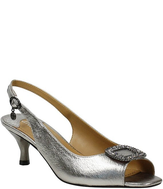 Color:Taupe Metallic - Image 1 - Madeleina Metallic Leather Bling Buckle Peep Toe Sling Pumps