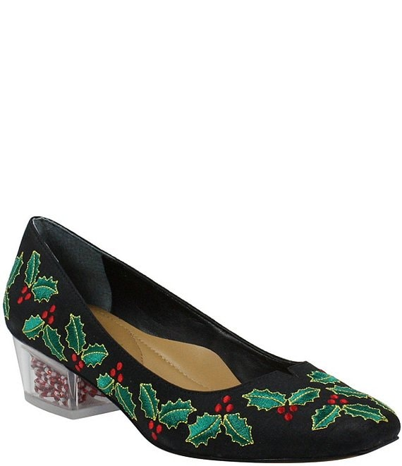 Color:Black/Green/Red - Image 1 - MerryCane Holly Embroidered Block Heel Pumps