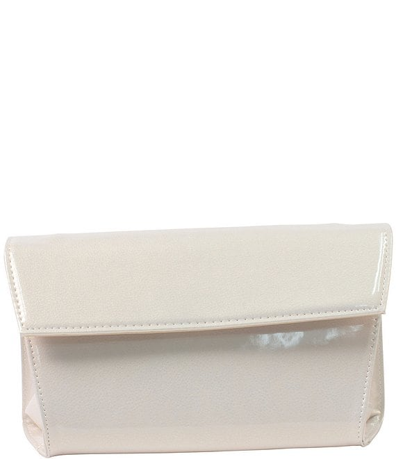 Color:Cream - Image 1 - M&M Pearled Patent Leather Clutch
