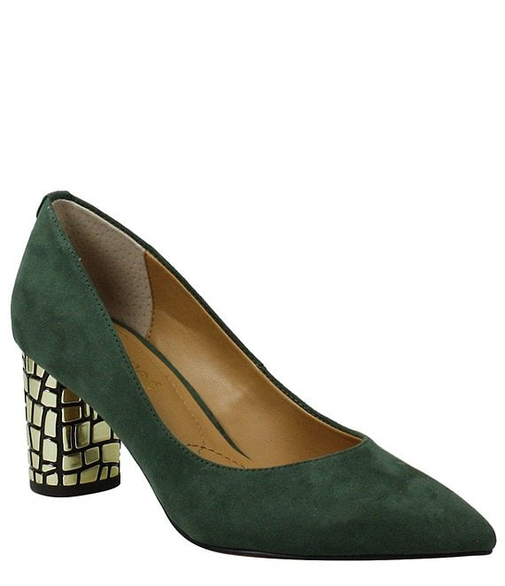 J. Renee Vaneeta Suede Block Heel Pumps