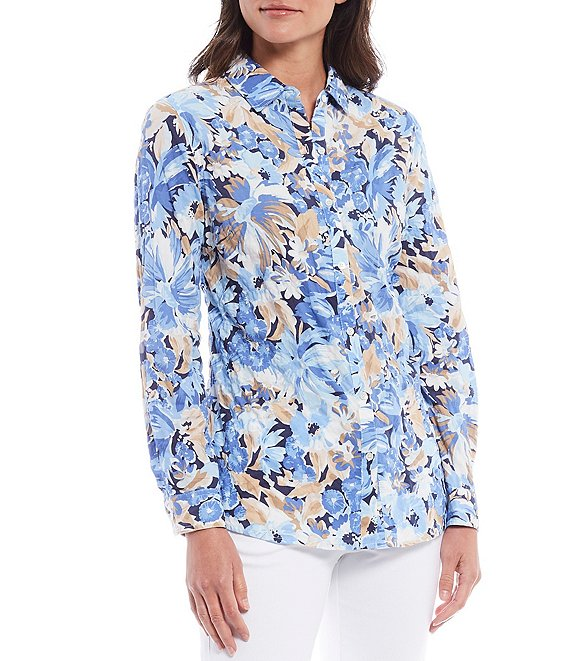 Color:Navy - Image 1 - Lois Floral Print Point Collar Long Sleeve Cotton Blouse