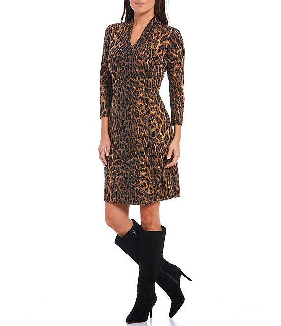 Color:Brown - Image 1 - Tanzania Cheetah Print Ivana Stand V-Neck 3/4 Sleeve Sheath Dress