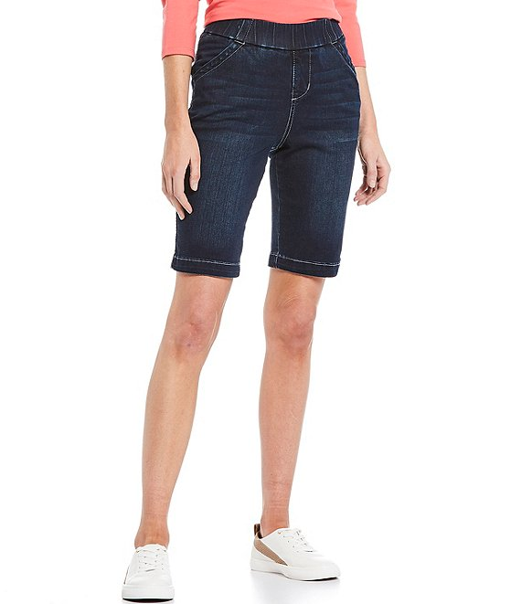 Color:Baltic Blue - Image 1 - Gracie Pull-On Denim Bermuda Shorts