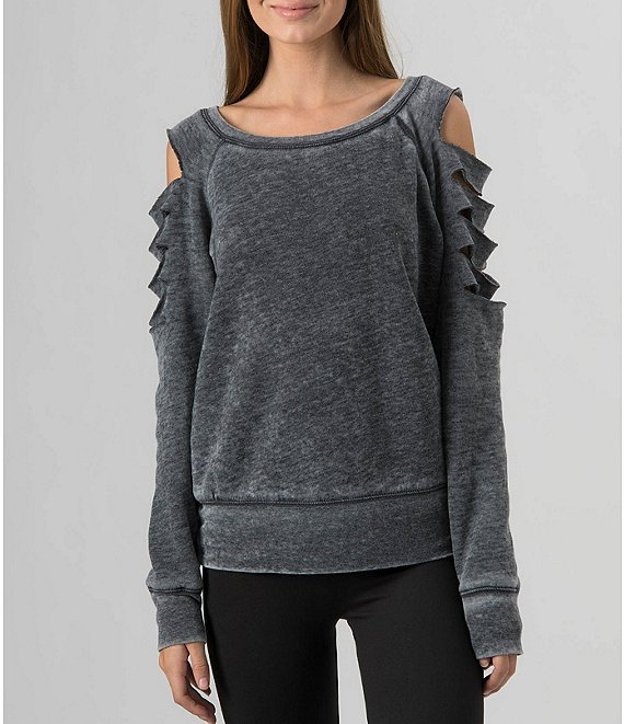 Color:Gray - Image 1 - French Terry Fleece Laser-Cut Sweatshirt