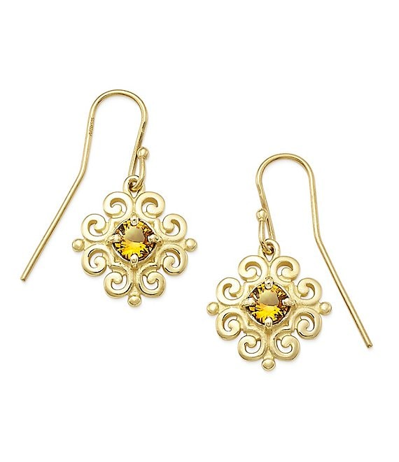 James Avery 14K Gold Scrolled Ear Hooks with November Birthstone