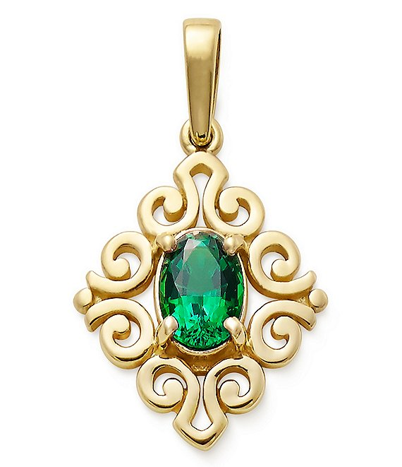 James Avery 14K Gold Scrolled Pendant with Emerald Birthstone