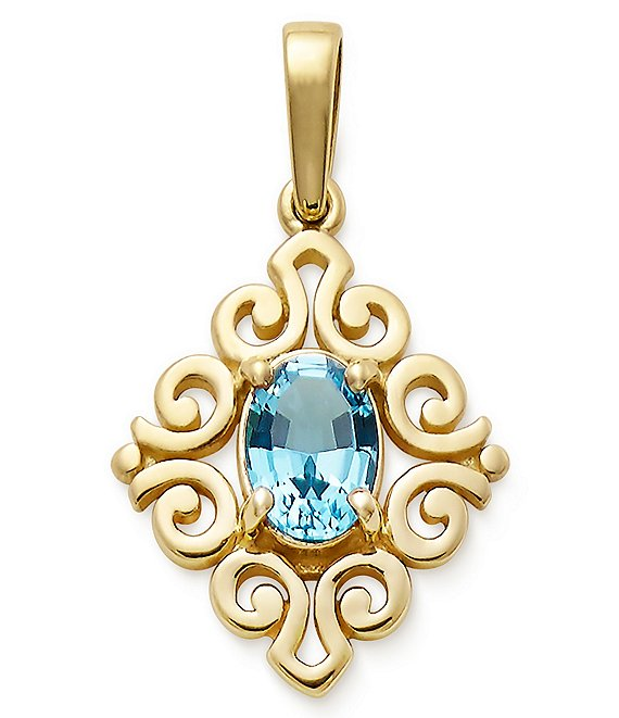 James Avery 14K Gold December Birthstone Scrolled Pendant