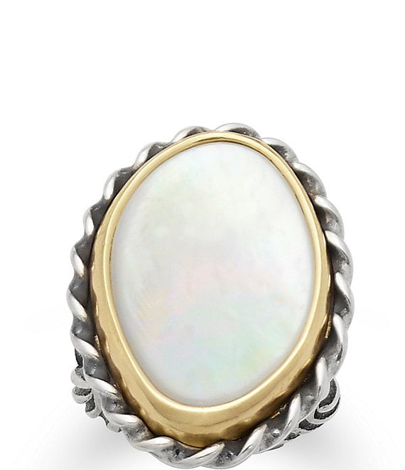 Color:Sterling Mother of Pearl - Image 1 - Alessandra Mother of Pearl Ring