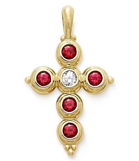 James Avery Antiquity Cross Pendant with Lab-Created Rubies & Diamond
