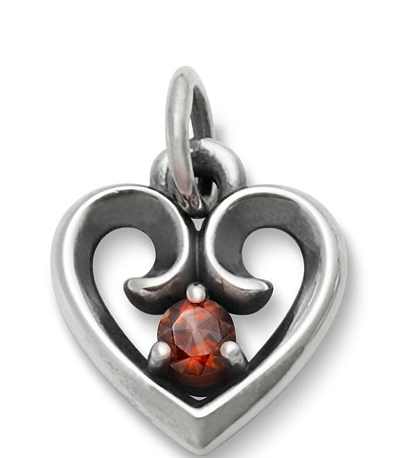 James Avery Avery Remembrance Heart Pendant with Garnet