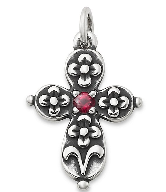 James Avery Floret Ruby Cross Charm