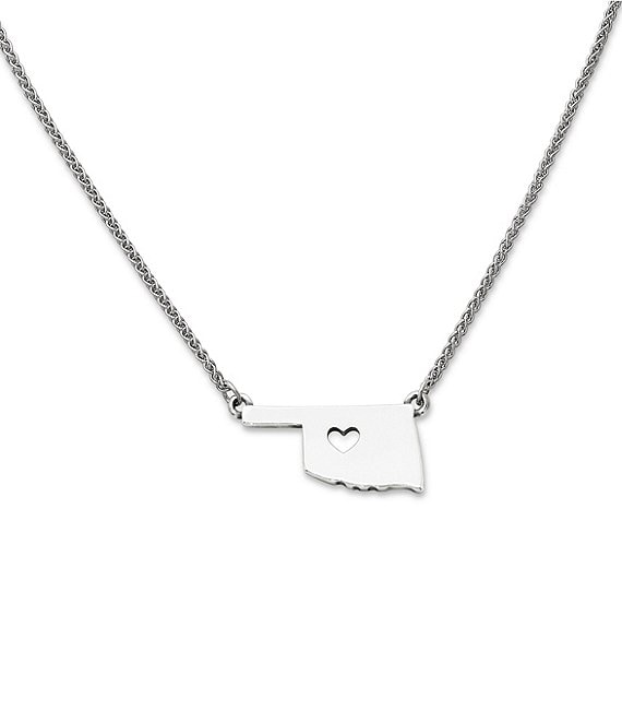 Color:Sterling Silver - Image 1 - I Love Oklahoma Necklace