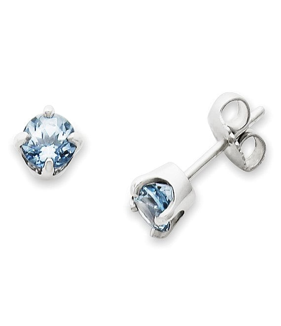 James Avery Lab-Created Aqua Spinel Gemstone March Birthstone Ear Posts