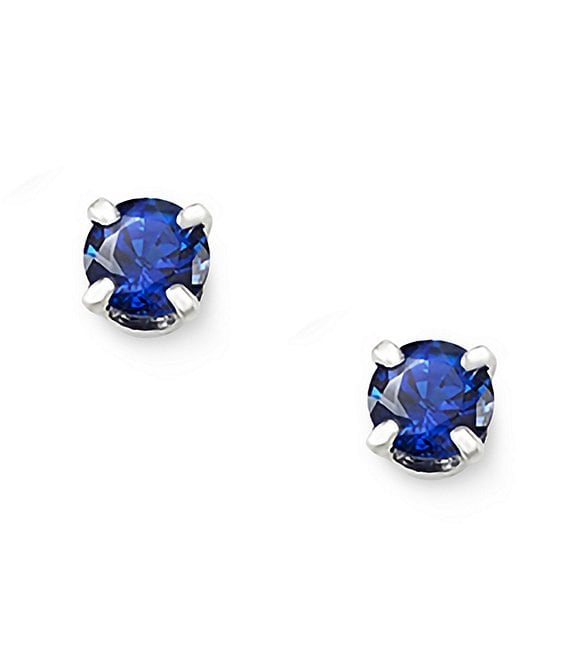 Color:Sterling Blue Sapphire - Image 1 - Lab-Created Blue Sapphire Gemstone September Birthstone Ear Posts