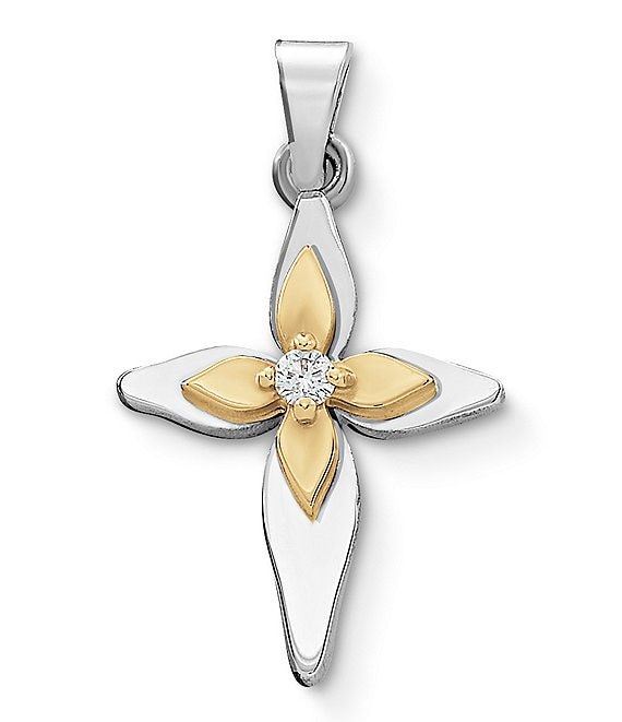 James Avery Light of Christ Cross Pendant With Diamond and 14K Gold