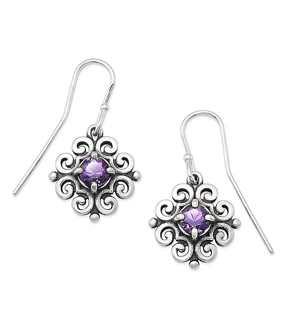 James Avery Scrolled Ear Hooks with February Birthstone