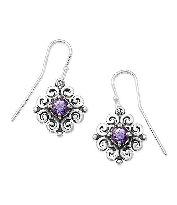 James Avery Scrolled Ear Hooks with June Birthstone