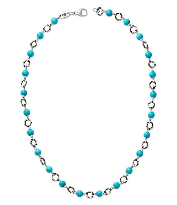 Color:Sterling Turquoise - Image 1 - Twisted Wire Link Necklace with Turquoise