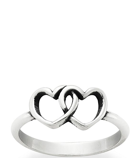Color:Silver - Image 1 - Two Hearts Together Ring