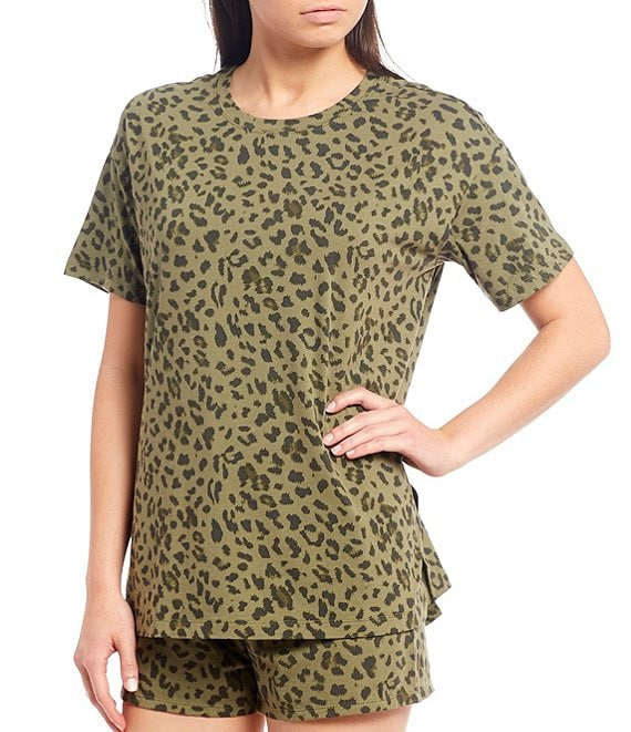 Color:Olive Heather - Image 1 - Animal Print Jersey Knit Sleep Top