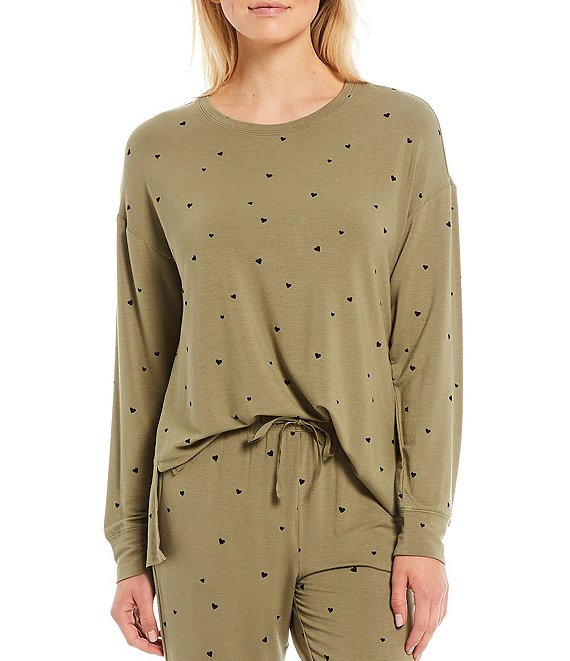 Color:Deep Lichen Green - Image 1 - Heart Print French Terry Lounge Sweatshirt