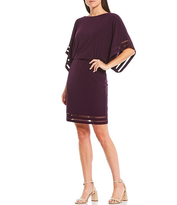 Color:Plum - Image 1 - 3/4 Dolman Sleeve Illusion Mesh Blouson Dress
